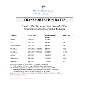 Ocean Reef Club Transportation Rates PNG